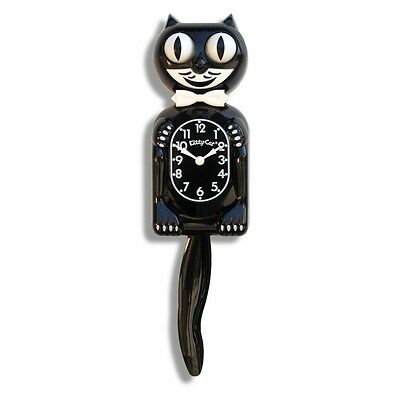 Playroom Cubicle Wall Clock For Children Battery Operated Black White Kitty-Cat