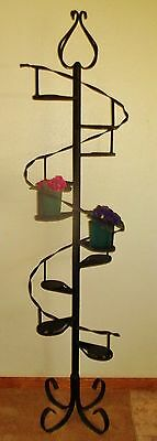 Custom Made Spiral Wrought Iron Plant Stand Holds 10 Plants Ornate Sturdy