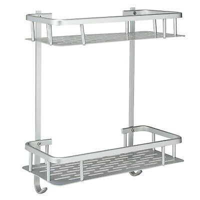 Deekec Durable Aluminum 2 Tiers Shower Storage Caddy Towel Bar Basket Kitchen
