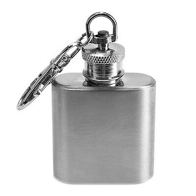 Portable 1oz Mini Stainless Steel Hip Flask Alcohol Flagon with Keychain