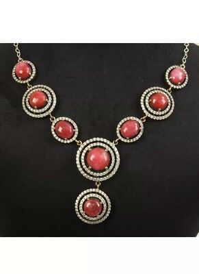 Antique Vintage 925 Silver Necklace With Ruby And Sapphires. (51Gram)