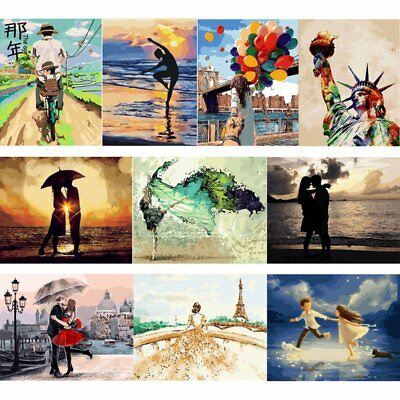 AU Frameless Paint by Numbers Kit DIY Canvas Oil Painting Romatic Couple Scener
