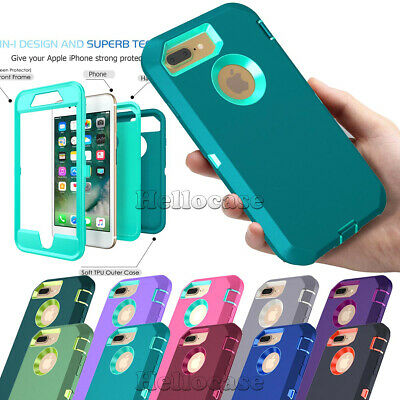 Shockproof Rugged Rubber Defender Hard&Sofe Case Cover For iPhone 7 6S 8 Plus XR