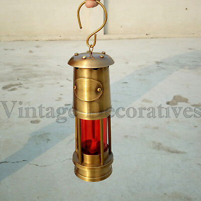 Vintage Brass Miner Lamp Antique Look Handmade RED Glass Lantern Oil Lamp DECOR