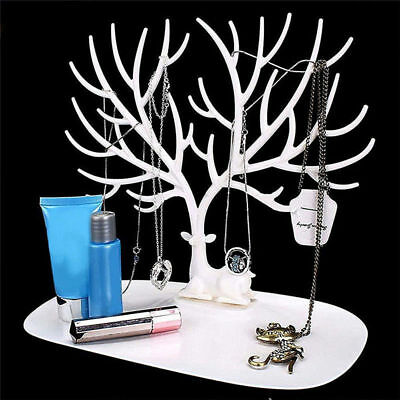 White Jewelry Display Stand Organizer Necklace Ring Earring Bracelet Holder Rack