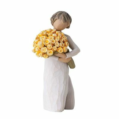 Willow Tree Good Cheer Good Courage Nip Figure with Yellow Flower Bouquet