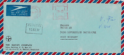 Bangladesh, metered Airmail Cover to Bayer AG. Dacca to Germany. Freistempel -77
