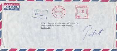 Singapore, double rate Airmail meter to Bayer AG. Germany. Freistempel Juli 76