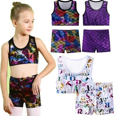 3-12Y Kids Baby Toddler Ballet Gymnastics Uniforms Soft Crop Top Shiny 2 Colors