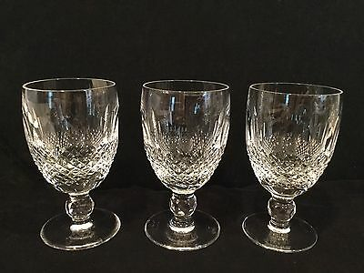 Waterford Colleen Crystal Clear Wine Glasses -Set Of three-Excellent-4 Oz.
