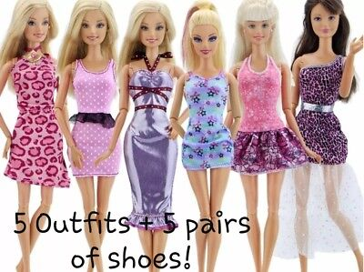 New Barbie doll outfits/ clothes/ dress x5 and x5 pairs of shoes      (lot 16)
