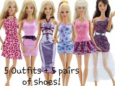New Barbie doll random outfits clothes dress x5 and shoes x5   Aussie seller
