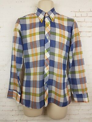 "Vtg 1970s Blue and Yellow Check Thin Polycotton Shirt Mod Disco -14.5""/S- ES37"