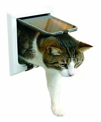 Trixie Weatherproof Plastic 4-Way Cat Flap with Tunnel White Magnetic Lock