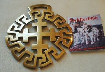 *a Rare Antique Horse Brass ~ A Cross In Greek Key Pattern*