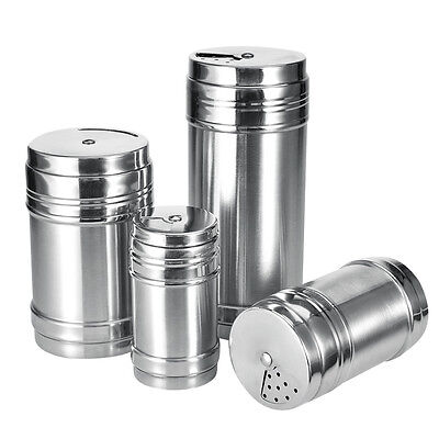 4 Size Stainless Steel Spice Sugar Salt Pepper Shaker Jar Cruet Container Bottle
