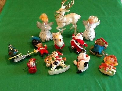 Vintage Lot Of Assorted Christmas Ornaments & Tin Santa Spinner