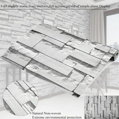 10M Roll 3D Rustic Grey Vintage Embossed Brick Effect Wallpaper  Decor PKJ