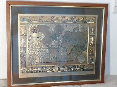 Vintage Framed Reproduction Antique World Map Gold Foil Print Moses Pitt 1681