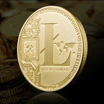 12 PCS Gold Plated Litecoin Coins Vires in Numeris Commemorative Coin Collection
