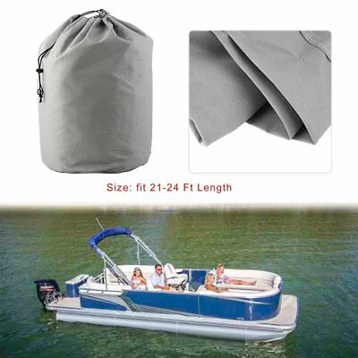 21-24ft 600D Heavy Duty Waterproof Fabric Trailerable Pontoon Boat Cover Gray +
