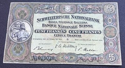 Switzerland 1949 banknote 5 francs.