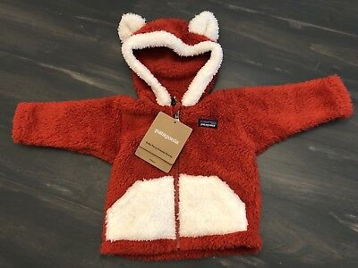 NWT Patagonia Baby Furry Friends Hoodie, red. Fuzzy, Fox, ears, 3-6 month.