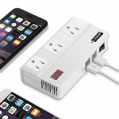 LESHP 200W Power Inverter Adapter DC 12V to AC 110V With 4.2A 4USB Car Charger E