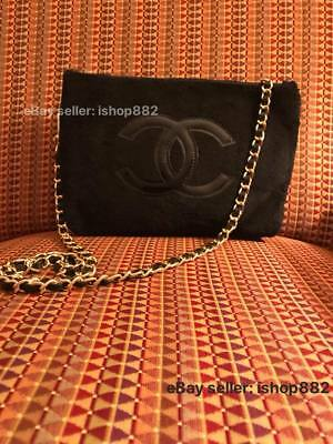 Classic Faux Leather Chain Gold Hardware Chanel Beauty Makeup Bag VIP Gift