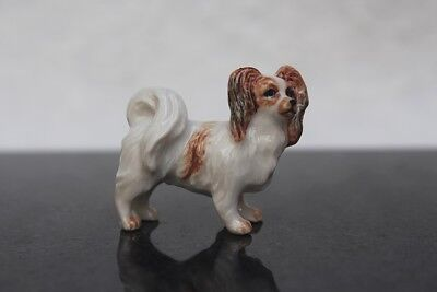 Figurine Animal Ceramic White Cavalier King Charles Miniature Hand Painted Gift