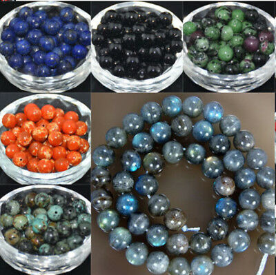 Wholesale Lot Round Natural Stone Gemstone Spacer Loose  Beads 4MM 6MM 8MM 10MM