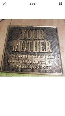 Vintage brass sign plaque NOTICE MOTHER well made PUB. Bar, Hotel, famiLy old
