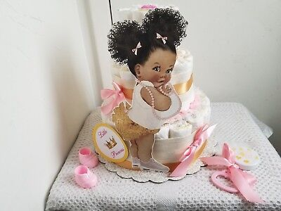 3 Tier Pink & Gold Little Princess Diaper Cake Baby Shower Gift Centerpiece-Girl