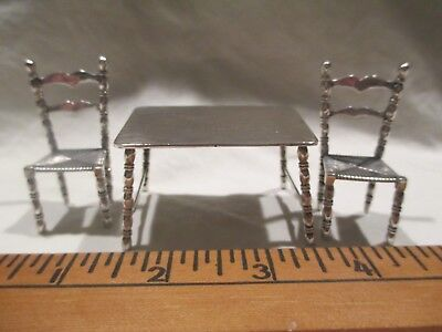 c1900 Dutch Silver Miniature Toy Doll Tables & 2 Chairs Ladderback rush seats