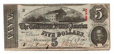 Confederate CSA Note $5 Type 60 April 1863 Nice Blue Back VF-XF