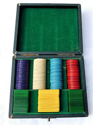 NO RESERVE Art Deco 1930's Boxed Bakelite Casino Card Chips Counters Vintage