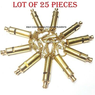 Lot of 25 Pcs Brass Nautical Police Whistle ~ Key Chain