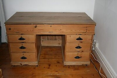 Antique Stripped Pine Desk Architects/Planners Desk with Lift Up Top