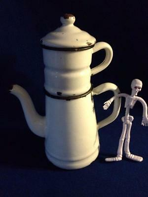 Vintage Antique French Biggin Coffee Pot Enamel Graniteware White Black 2 Cups