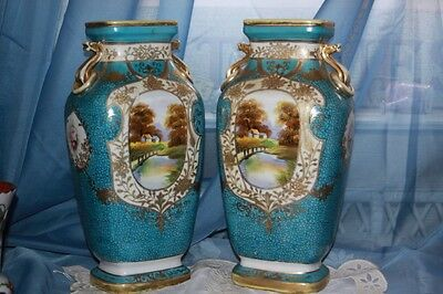 Vintage Matching Pair 2 12 inch Large NIPPON Ringed Handle Scenic Moriage Vases