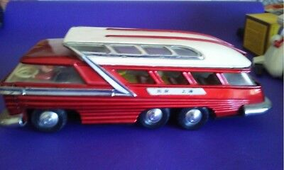 Vintage  China Tin Toy/ Red  Bus/ Battery Operated With Box Works!