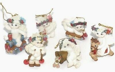 6 Dreamsicles Cherubs Cast Art Angels Christmas Tree Mini Ornaments 1998 W/BOX