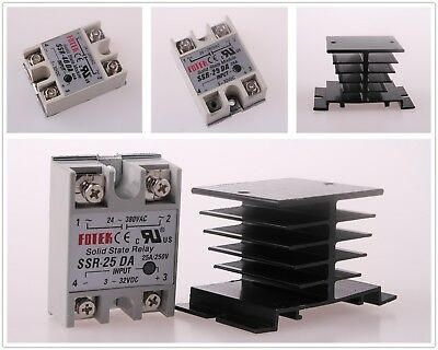 25A/40A 250V SSR-25DA SSR-40DA Solid State Relay Alloy Heat Sink Fast Shipping