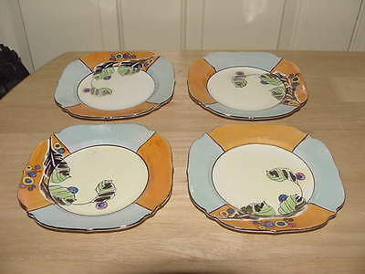 4 - Gold Castle Chikusa Japan Dessert Salad Plates Blue Orange Hand Painted 7""