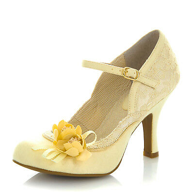 85d868285c32e RUBY SHOO NEW Silvia lemon yellow mary jane floral lace high heel shoes  size 3-9