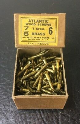 Vtg Atlantic #6 X 7/8 Inch Flat Head BRASS SLOTTED Wood Screws 141 box unused