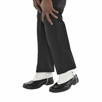 Mens Classic Roaring 20s Gangster Spats White Shoe Cuff Cover Fancy Dress