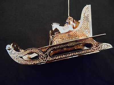 """Danbury Mint 23K Gold Christmas Ornament  """"Sled With Toys""""  1998"""