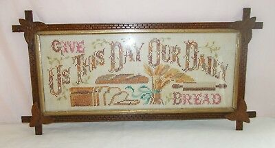 Vintage Tramp Art Folk Style Wood Frame Cross Stitch Religious