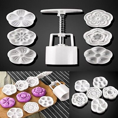 Cookie Cake Cutter Mold with 6 Stamp Mid Autumn Press Baking Tool Decoration New
